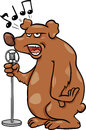 Singing bear cartoon illustration of funny character Stock Images
