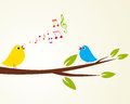 Singing bird on a branch vector illustration Stock Photos