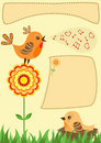 Singing bird. Greeting card. Royalty Free Stock Image