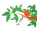Singing bird on tree Royalty Free Stock Images