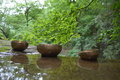 Singing bowls in natural settings Royalty Free Stock Image