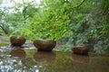 Singing bowls in natural settings Royalty Free Stock Image