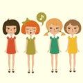Singing cartoon girls character, Royalty Free Stock Photo
