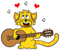 Singing cat vector illustration of a on white Stock Images
