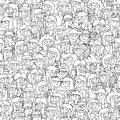 Singing children choir seamless pattern with doodled youngsters in black and white illustration is in eps vector mode background Royalty Free Stock Image