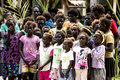 Singing children of Priumeri, Solomon Islands Royalty Free Stock Photo