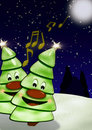 Singing Christmas trees Stock Image