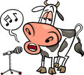 Singing cow cartoon illustration of funny character Stock Photos