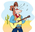 Singing cowboy and music Stock Photo