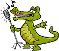 Singing crocodile cartoon illustration of funny character Royalty Free Stock Photo
