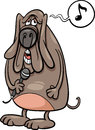 Singing dog cartoon illustration of funny character Stock Photo