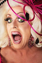 Singing drag queen beautiful caucasian close up Stock Photo