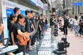 Singing event for memorizing china tiananmen square protests of hong kong university students the located in wan chai hong Stock Images
