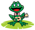 Singing frog vector of with guitar Royalty Free Stock Image