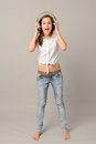 Singing Girl With Headphones L...
