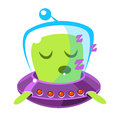 Singing green alien in a flying saucer, cute cartoon monster. Colorful vector character