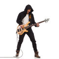 Singing guitarist shouting in black hoodie plays the bass guitar full length studio shot isolated on white Royalty Free Stock Image