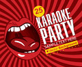 Singing karaoke red banner with mouth Stock Photo