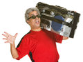 Singing man with boom box excited mature Stock Images
