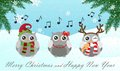 Singing owl. Merry Christmas and Happy New Year