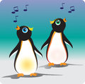 Singing penguins vector illustration of two Stock Photos