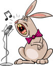 Singing rabbit cartoon illustration of funny character Royalty Free Stock Photography