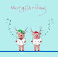 Singing reindeer two christmas song vector illustration Stock Photography