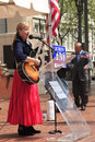 Singing a song at a political rally, Portland OR Stock Image