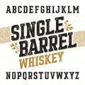 Single barrel whiskey label font with sample design