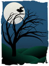 Single Bird Sits on Creepy Curvy Tree at night Stock Images