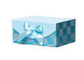 Single blue gift box turquoise with a decorative bow Royalty Free Stock Photos