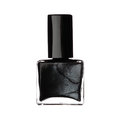 Single bottle of black nail varnish polish isolated on white bac Royalty Free Stock Photo
