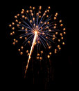 Single Burst of Fireworks on a Black Background Royalty Free Stock Photo