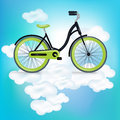 Single bycicle riding on clouds illustration Stock Photography