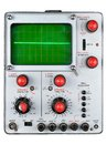 Single channel oscilloscope vintage for radio and tv repair with green phosphor screen photographed on a white background Royalty Free Stock Photos