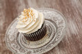 Single Chocolate Cupcake With White Vanilla Frosting Royalty Free Stock Photo