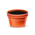 Single clay pot with soil on white Stock Photos