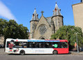 Single deck National Express coach in Dundee Royalty Free Stock Photo