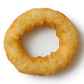 Single deep fried onion or calamari ring  from above. Royalty Free Stock Photo