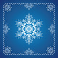 Single detailed snowflake with Christmas border Royalty Free Stock Photos