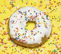 Single doughnut with sprinkles Stock Image