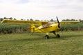 Single Engine Aeroplane Parked on Grass Royalty Free Stock Photo