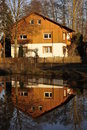 Single Family House Reflection Royalty Free Stock Images