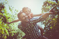 Single father on meadow with his daughter. Royalty Free Stock Photo