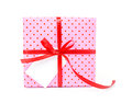 Single gift box with ribbon on white background and space for text Royalty Free Stock Photo
