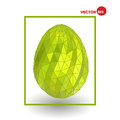 Single golden chicken egg on white background. Colorful Happy Easter greeting card, design graphics.