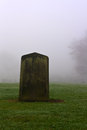 Single gravestone in a spooky graveyard Stock Images