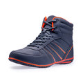 Single of high top fashion blue sneakers Royalty Free Stock Photo
