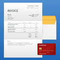 Single Invoice and credit card. Payment and billing invoices, business or financial operations sign. Vector icon invoice
