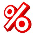 Single Isolated Red Graphic Percent Sign Sale Angled 3D